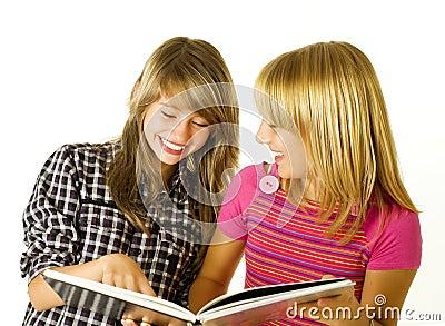 Teenage Girls with Book