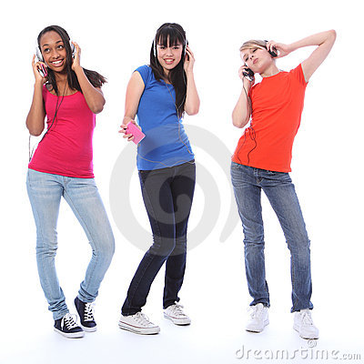 Free Teenage Girls Dancing Fun To Cell Phone Music Royalty Free Stock Photography - 21635887