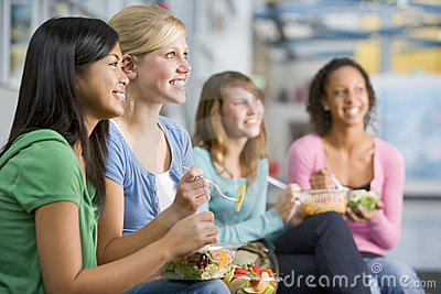 Teenage Girls Enjoying Healthy Lunches Together Stock Photo - Image: 6082360