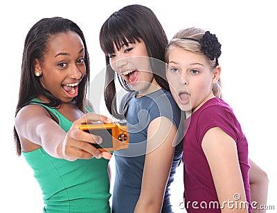 Teenage girls fun photography selfie digital camer