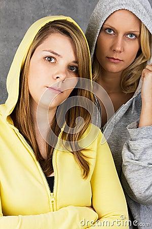 Teenage girls in hooded jacket