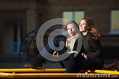 Teenage girls on the playground