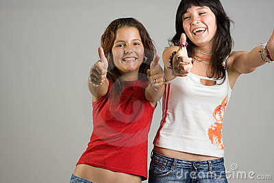 Teenage girls smiling