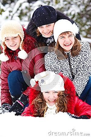Teenage girls in a snowy park