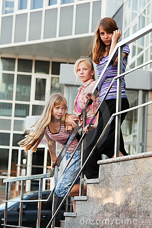 Teenage girls on a steps
