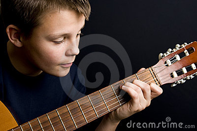 Teenage guitar player