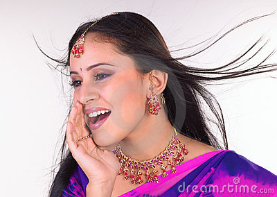 Teenage indian girl in a shouting expression
