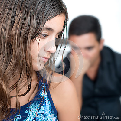 Free Teenage Problems,teen Girl And Her Worried Father Stock Photos - 43055623