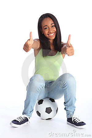 Teenage sports girl two thumbs up happy success