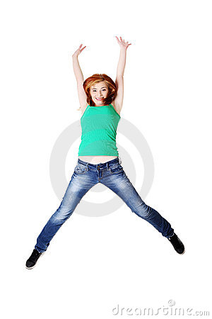 Teenage student jumping.