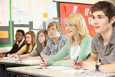 Teenage Students Studying