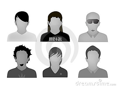Teenage styles web avatars vector