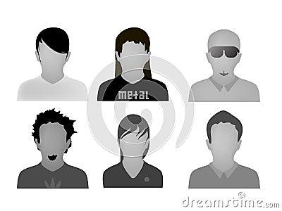 Teenage styles web avatars vector