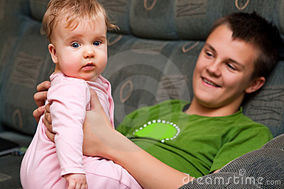 Teenager with baby girl