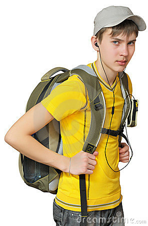 A teenager with a backpack