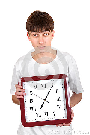 Teenager with Big Clock