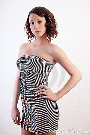 Teenager in a Black and White Dress