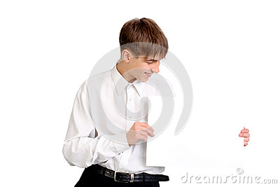 Teenager with blank paper