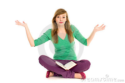 Teenager with book gesturing