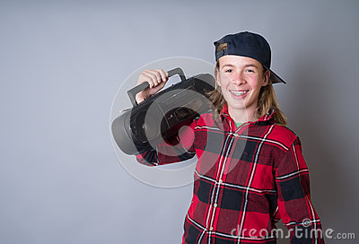 Teenager with Boom Box Radio