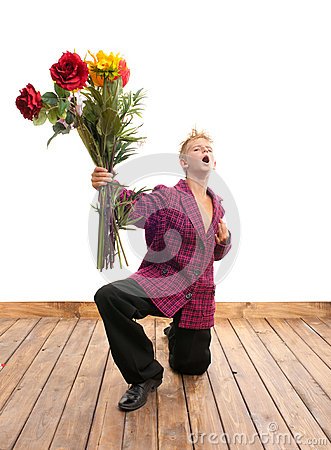 Teenager with bouquet