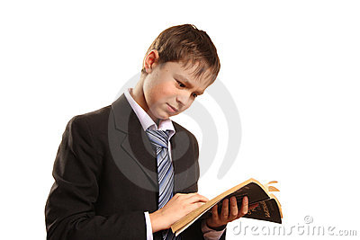 Teenager boy with an open book