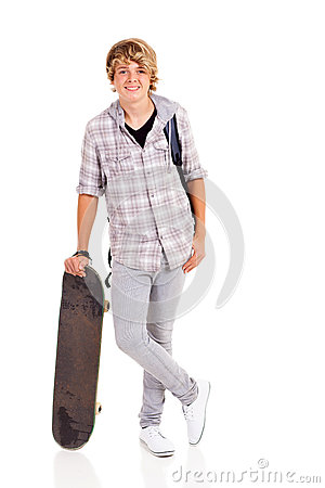 Teenager boy skateboard
