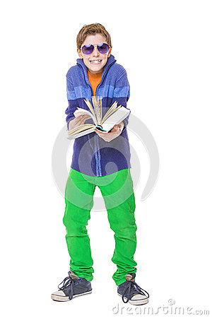 Teenager boy with sun glasses is holding a book