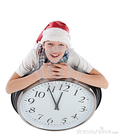 Teenager in cap of Santa Claus, isolation