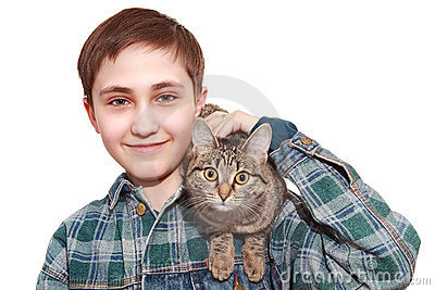 The teenager with a cat