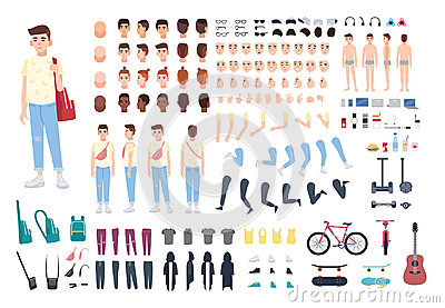 Teenager character constructor. Boy creation set. Different postures, hairstyle, face, legs, hands, clothes, accessories Vector Illustration