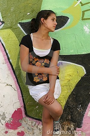 Teenager on colorful urban background