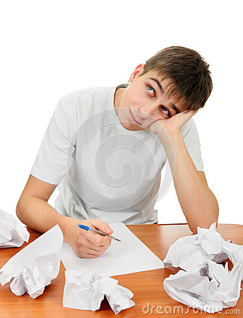 Teenager compose a Letter Stock Photo