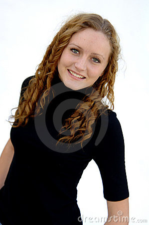 Teenager with curly hair
