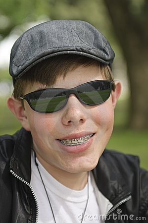 Teenager with dental braces
