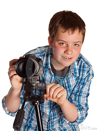 Teenager with digital camera