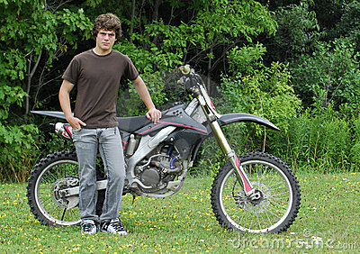 Teenager with dirt bike