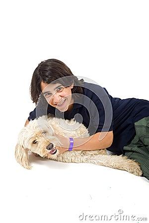 Teenager and dog