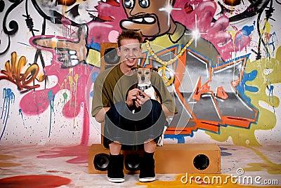 Teenager dog urban graffiti