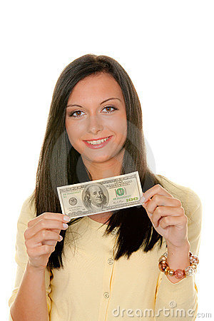 Teenager with dollar banknote