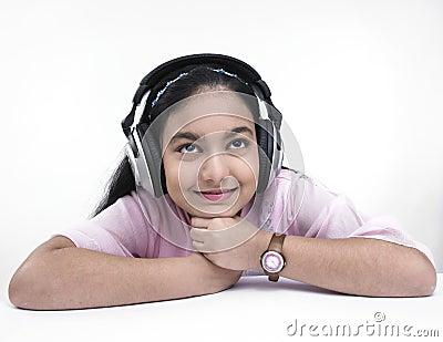 Teenager enjoying music