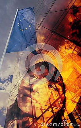Teenager and European flag
