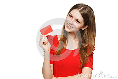 Teenager female holding empty credit card