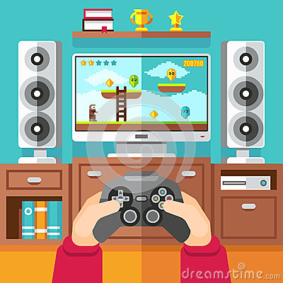 Free Teenager Gaming Video Game With Gamepad And Playstation Vector Illustration Stock Image - 86576141