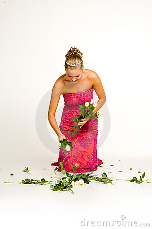 Teenager gathering roses