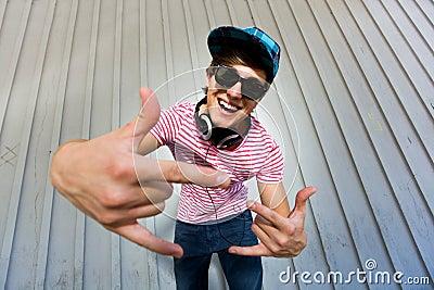 Teenager gesturing