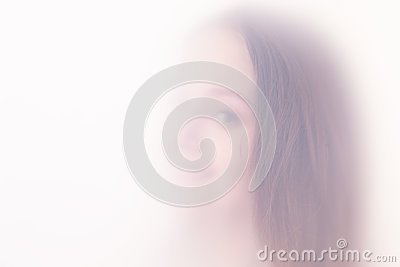 The teenager girl in a fog