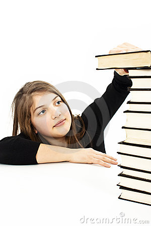 Teenager girl with group book