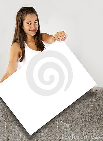Teenager girl holding a poster