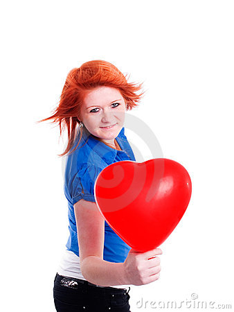 Teenager girl holding valentine balloon hearts